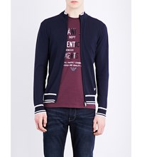 Armani Jeans Contrast Trim Stretch Ribbed Cardigan Navy