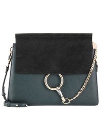 Chloe Faye Leather And Suede Shoulder Bag Blue