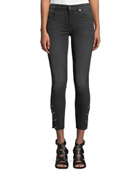 7 For All Mankind Cropped Grommet Trim Ankle Skinny Jeans Dark Blue