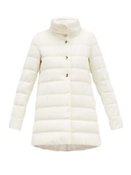 Herno Quilted Silk Blend Down Coat White
