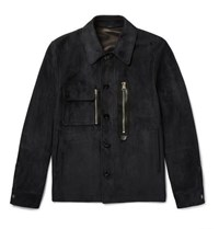 Tom Ford Leather Trimmed Suede Jacket Navy