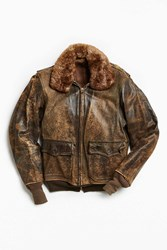 Urban Outfitters Vintage Faux Fur Collar Leather Jacket Brown