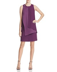 Adrianna Papell Jeweled Crepe Shift Dress Plum Wine