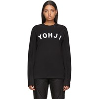 Y 3 Black And White Yohji Letters Long Sleeve T Shirt