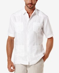 Cubavera Short Sleeve Embroidered Guayabera Shirt Bright White