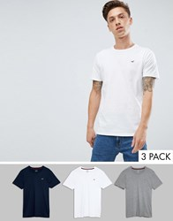 abffc1dc Hollister 3 Pack Crew Neck T Shirt Seagull Logo Slim Fit In White Grey Navy  White