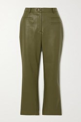 Rejina Pyo Net Sustain Finley Cropped Faux Leather Slim Fit Pants Green