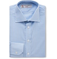 Turnbull And Asser Slim Fit Bengal Striped Cotton Shirt Blue