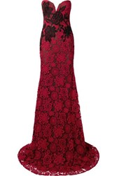 Naeem Khan Strapless Embroidered Guipure Lace Gown Claret