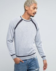 Asos Jumper With Contrast Mesh Raglan Sleeves And Hem Silver Grey