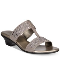 Karen Scott Eddina Embellished Slide Sandals Pewter
