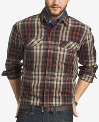 G.H. Bass And Co. Men's Big And Tall Mountain Twill Plaid Long Sleeve Shirt Forest Night