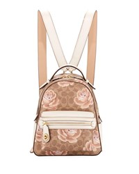 Coach Campus 23 Coated Canvas Signature Rose Backpack Tan Chalk