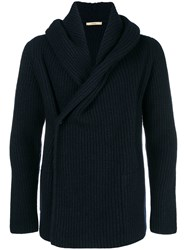 Nuur Ribbed Wrapped Cardigan Blue