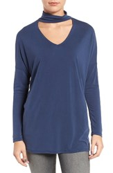 Trouve Women's Keyhole V Neck Top Navy Peacoat