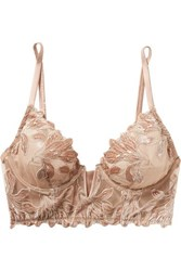 Fleur Du Mal Lily Embroidered Stretch Mesh And Velvet Underwired Bra Blush