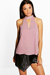 Boohoo Woven High Neck Plunge Blouse Mink