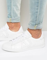 Armani Jeans Croc Effect Trainers White