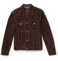 Tod's Slim Fit Suede Trucker Jacket Brown