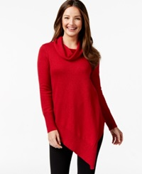 Alfani Asymmetrical Hem Cowl Neck Sweater Only At Macy's Lurex New Red Amore