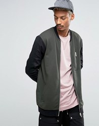 Asos Longline Jersey Bomber Jacket With Contrast Woven Sleeves Khaki Green