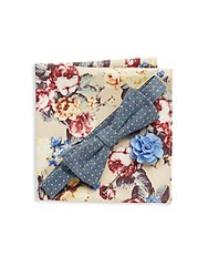 Original Penguin Three Piece Textured Bow Tie Lapel Pin And Floral Printed Pocket Square Set Navy