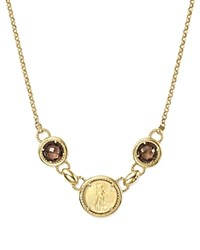 Bloomingdale's Smoky Quartz Coin Pendant Necklace In 14K Yellow Gold 16 100 Exclusive