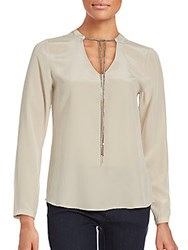 Saks Fifth Avenue Black Long Sleeve V Neck Silk Top Champagne