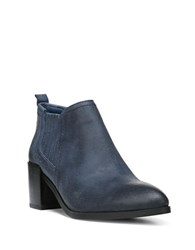 Fergie Magic Distressed Leather Bootie Navy Blue