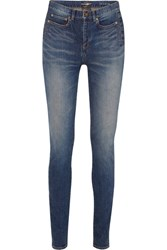 Saint Laurent Distressed Mid Rise Skinny Jeans Mid Denim