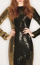 Sonia Rykiel Bicolor Sequin Long Sleeve Dress Black