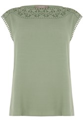 Oasis Lace Trim T Shirt Khaki