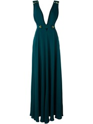 Roberto Cavalli Plunging V Neck Flared Long Dress Green