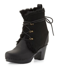 No. 6 Gonzalez Leather And Shearling Fur Lace Up Bootie
