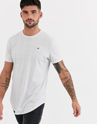 Hollister Icon Logo Curved Hem T Shirt In White Marl