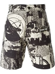 Ktz Newspaper Print Shorts Black