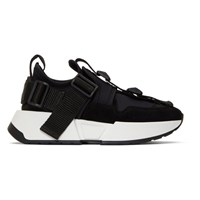 Maison Martin Margiela Mm6 Black Safety Strap Platform Sneakers