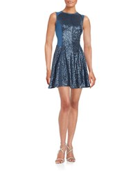 Rachel Roy Sleeveless Sequined Fit And Flare Dress Navy