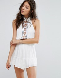 Kiss The Sky Festival Romper With Embelished Panel White