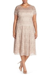 Plus Size Women's Sangria Sequin Lace Fit And Flare Dress Taupe