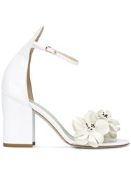 Giannico Studded Flowers Sandals White