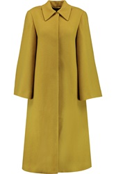Emilia Wickstead Helena Wool Blend Tweed Coat Yellow