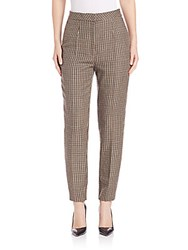 Escada Slim Checkered Pants Black Brown