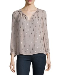 Joie Mauro Long Sleeve Metallic Trim Silk Blouse Dusty Mink