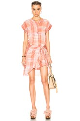 Ulla Johnson Theo Dress In Checkered And Plaid Pink Checkered And Plaid Pink