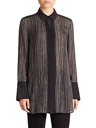 Vince Wavy Striped Silk Blouse Black Off White