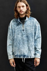 Urban Outfitters Uo Bleached Denim Mock Neck Pullover Shirt Light Blue