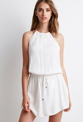 Forever 21 Crochet Paneled Halter Dress Cream Cream