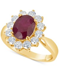 Macy's Ruby 2 1 5 Ct. T.W. And Diamond 1 Ct. T.W. Ring In 14K Gold Red
