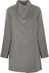 Vince Two Tone Brushed And Knitted Wool Blend Coat Gray